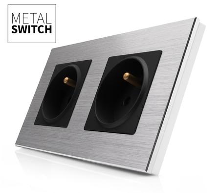 Gniazdo podwójne czarne w ramce aluminiowej kolor srebrny (1)