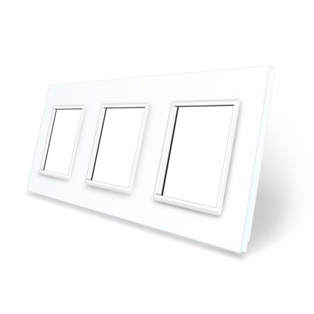 Ramka szklana 3 do gniazdek-modułów biała WELAIK (1)