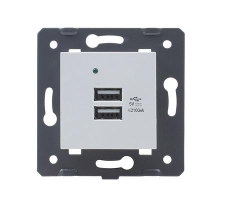 USB ładowarka podwójna biała Welaik (1)